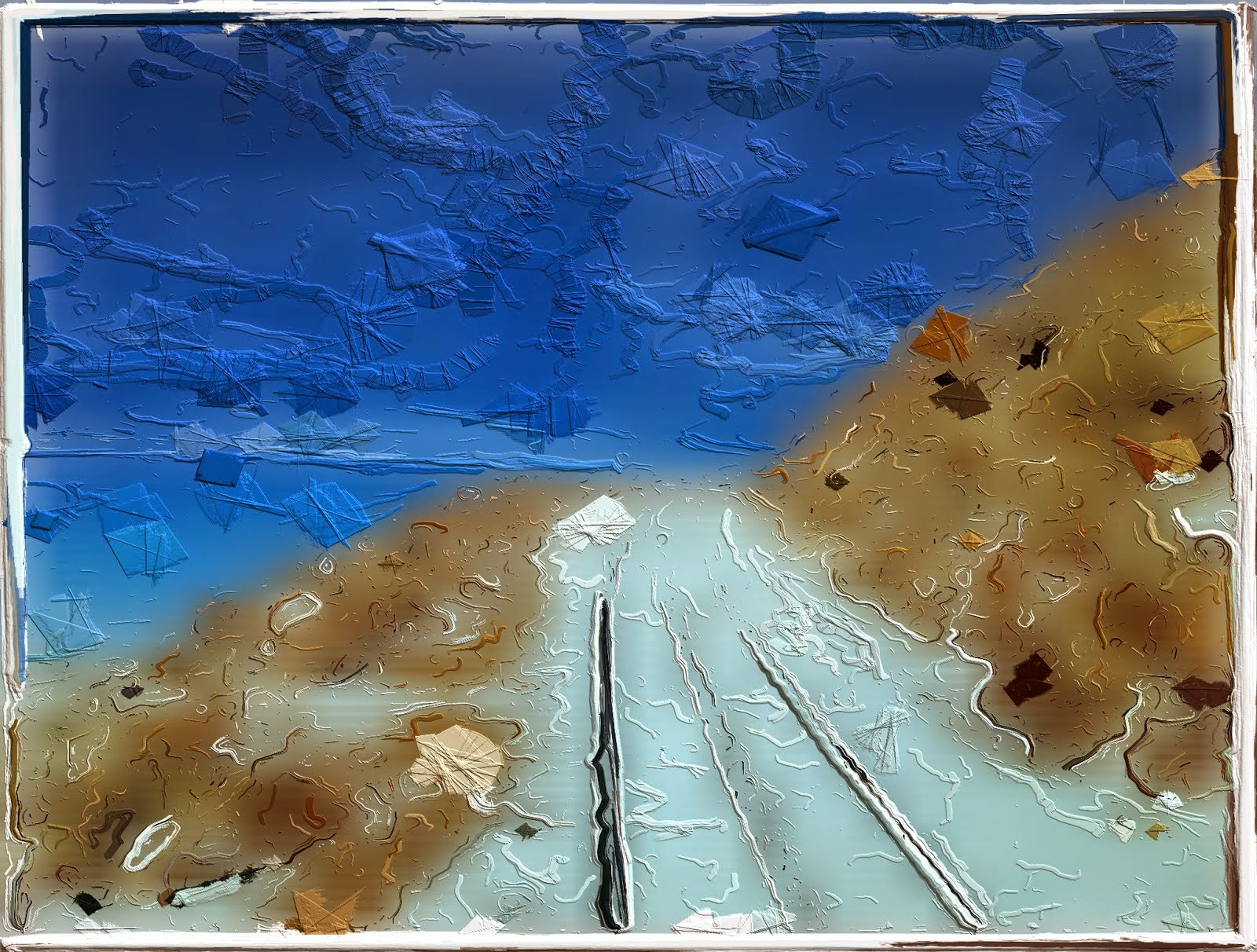 abstract train tracks painting