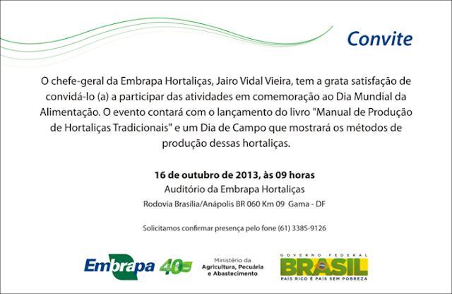 CONVITE: Comemoração ao Dia Mundial da Alimentação e lançamento do livro: Manual de Produção de Hortaliças Tradicionais