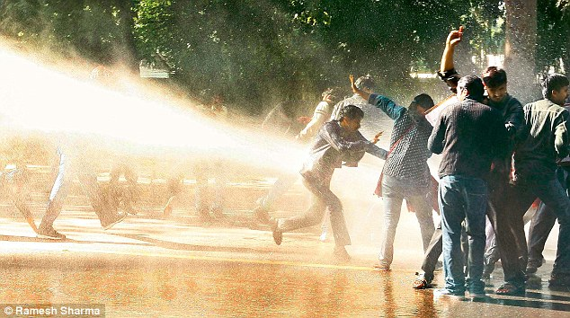 Water Cannons Used