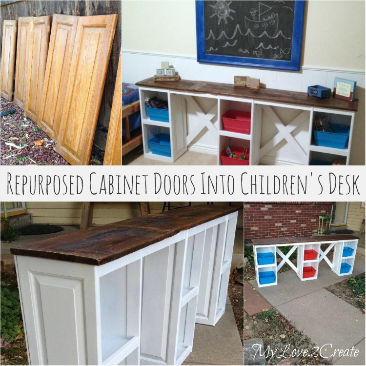 repurpose cabinet doors into children's desk