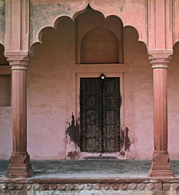 old wooden door at the Red Fort Agra