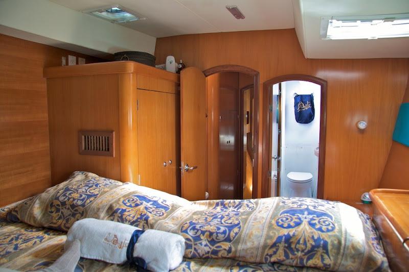Catamaran bedroom with bathroom