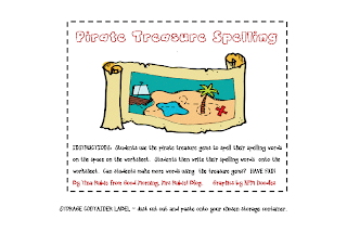 Pirate Treasure Spelling Printable