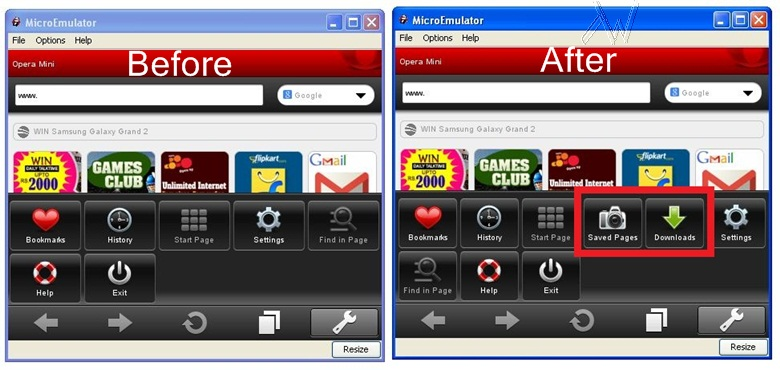 Opera mini before and after in  MicroEmulator