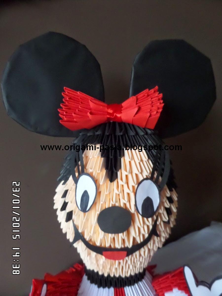 Myszka Miki ( Mini Mouse ) - origami modułowe.
