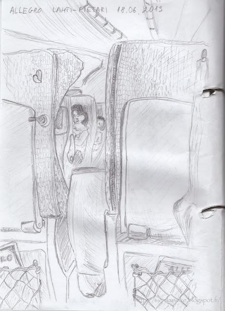 между сиденьями, в вагоне поезда, в пути, рисунок карандашом