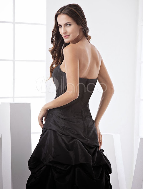 China Wholesale Clothes - Formal Black Ruched Bottom Taffeta Prom Dress