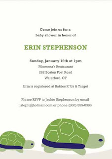 Green Turtle Baby Boy Baby Invitations