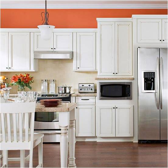 Orange kitchen cabinets for Burnt orange kitchen cabinets
