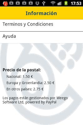 Captura de las tarifas por enviar postales con la aplicación