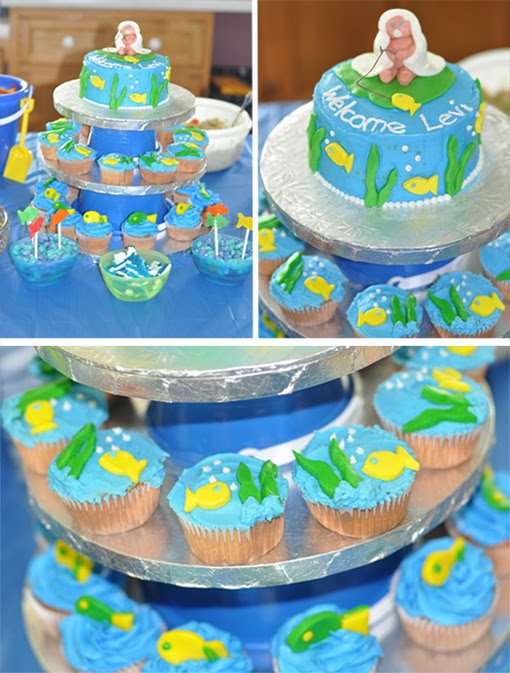 Baby Shower Fishing Themed Cake |