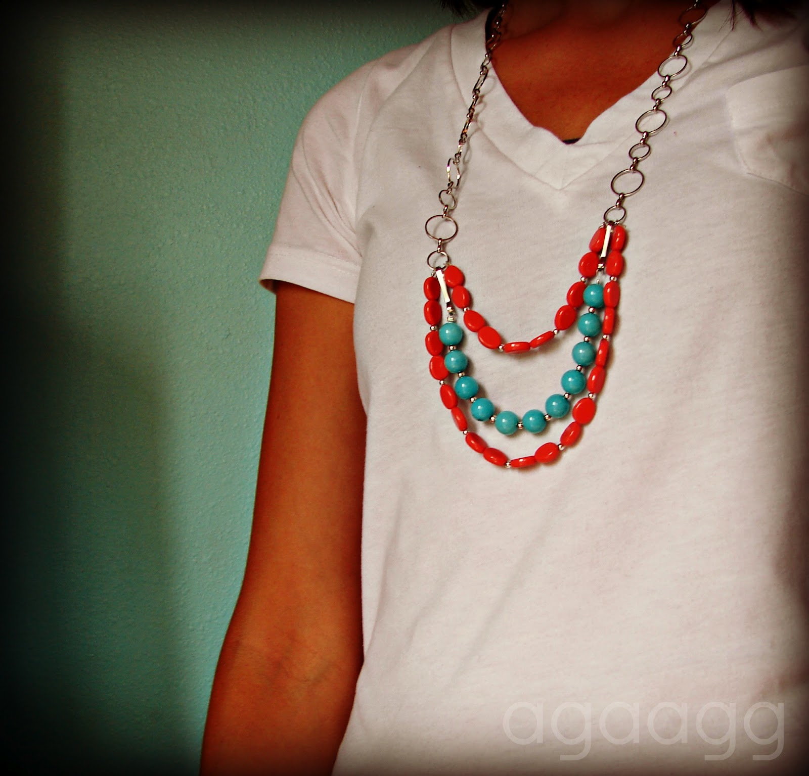 Coral And Blue Necklace