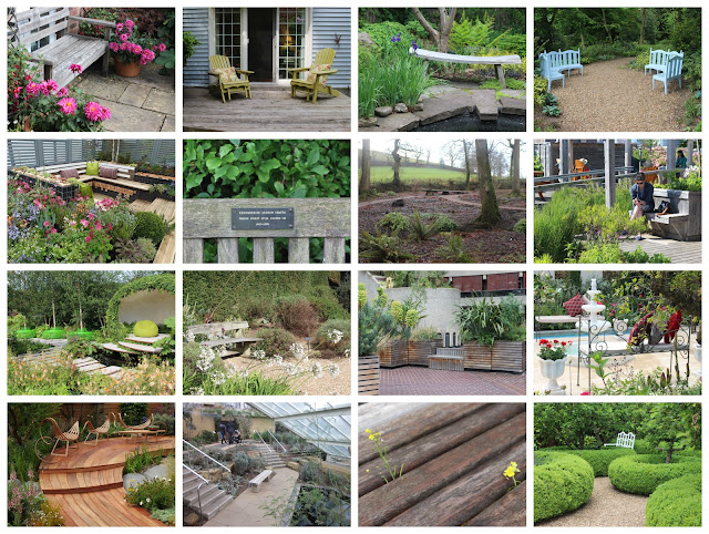 Photo collage of my favourite garden benches of 2015