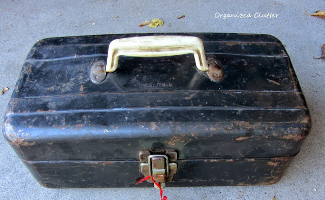 $4 old beat up tool box  http://organizedclutterqueen.blogspot.com/2013/10/easy-fall-vintage-junk-decorating.html