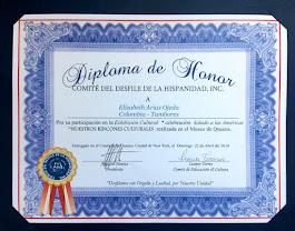 Diploma de Honor Comité del Desfile de la Hispanidad Inc. 4-22-2018
