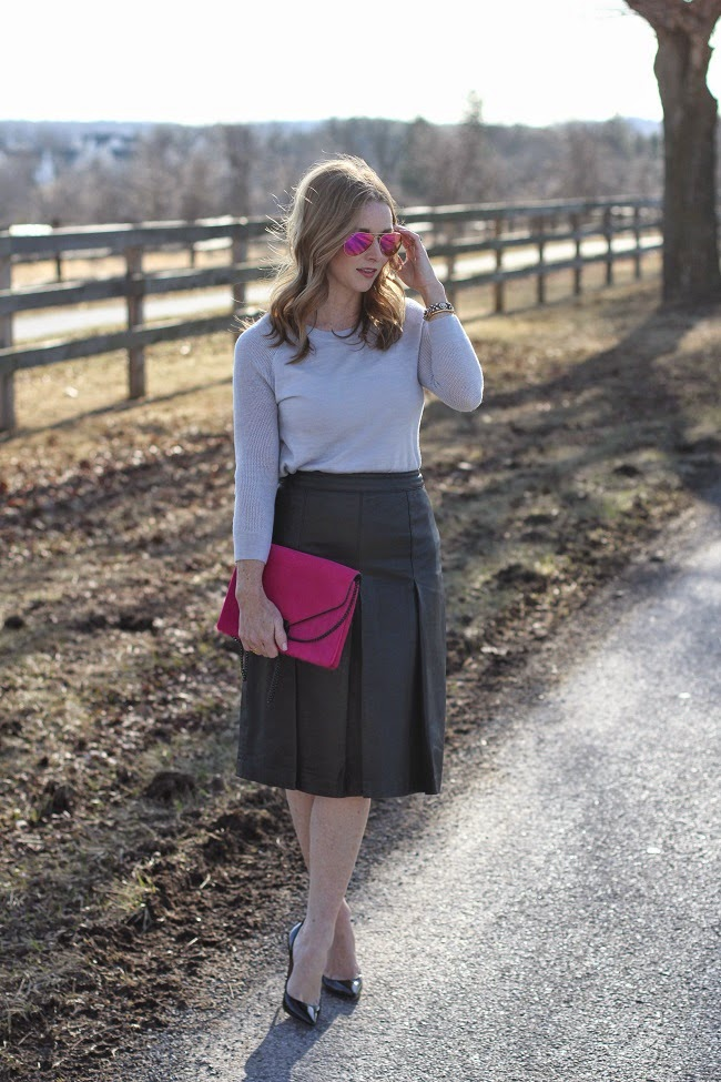 jcrew factory sweater, halogen leather skirt, christian louboutins, loeffler randal clutch, ray ban sunglasses, vita fede bracelet