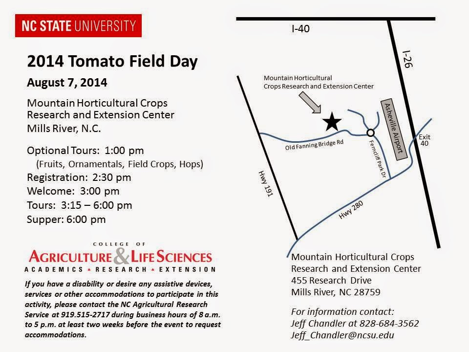 tomato field day august 7, 2014 in mills river, nc