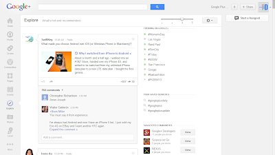 Google Plus Explore Page, What's Hot and Recommended