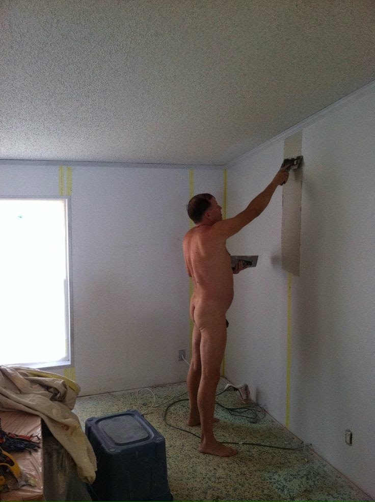 Guy Purcella, owner of Mr Patch Drywall working naked with customer permission