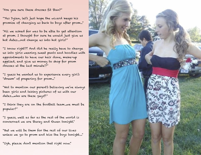 Magic Sissy Captions http://crossdressing-captions.blogspot.com/2012/04/magic-girls-at-prom.html