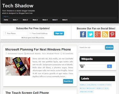 Tech Shadow Blogger Template