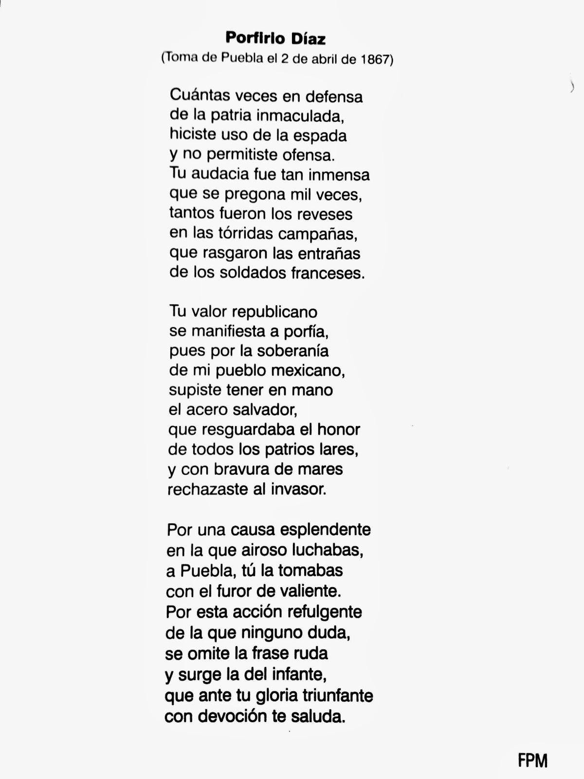 Poesía a Porfirio Diaz