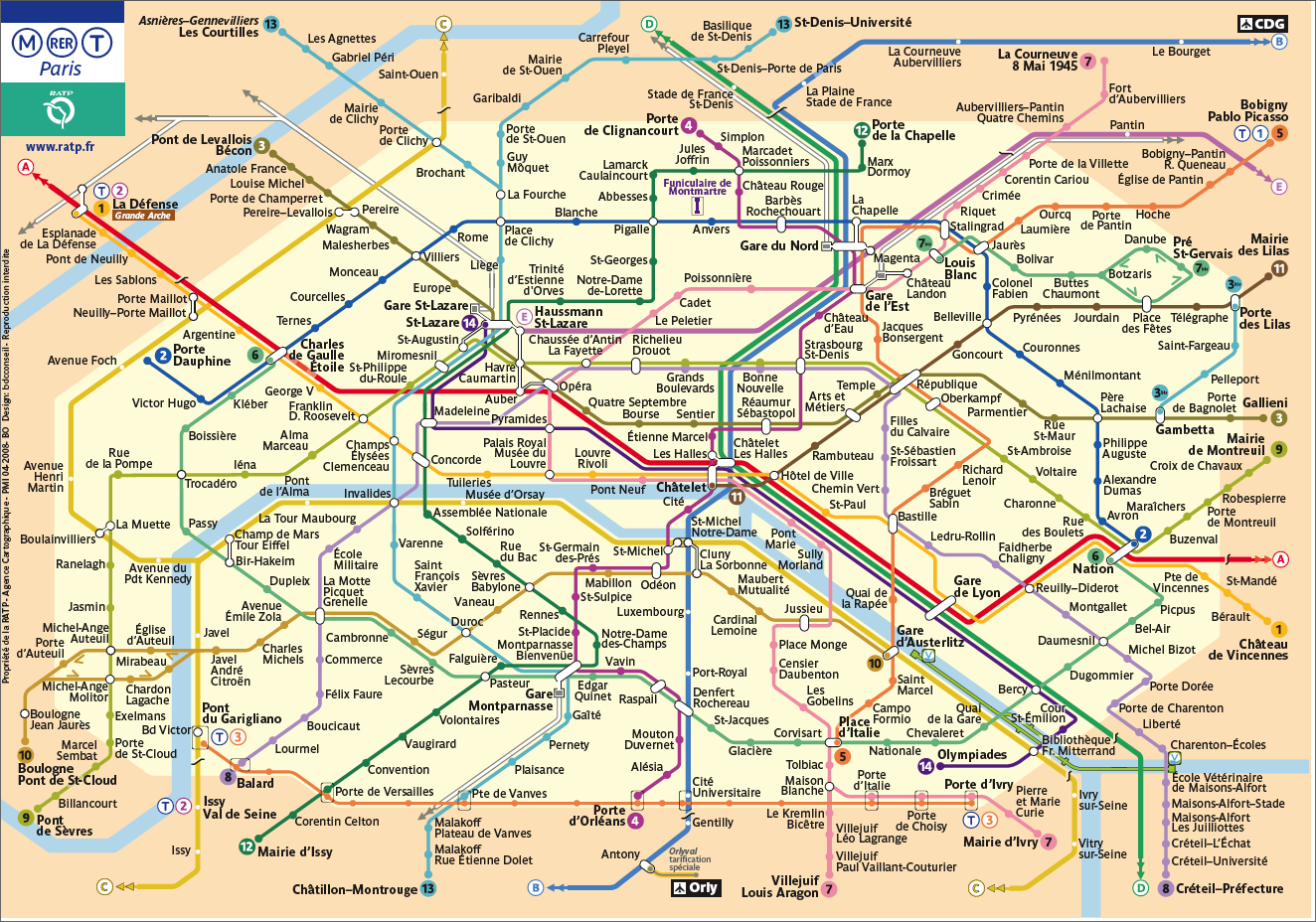 metro rer paris map metro map