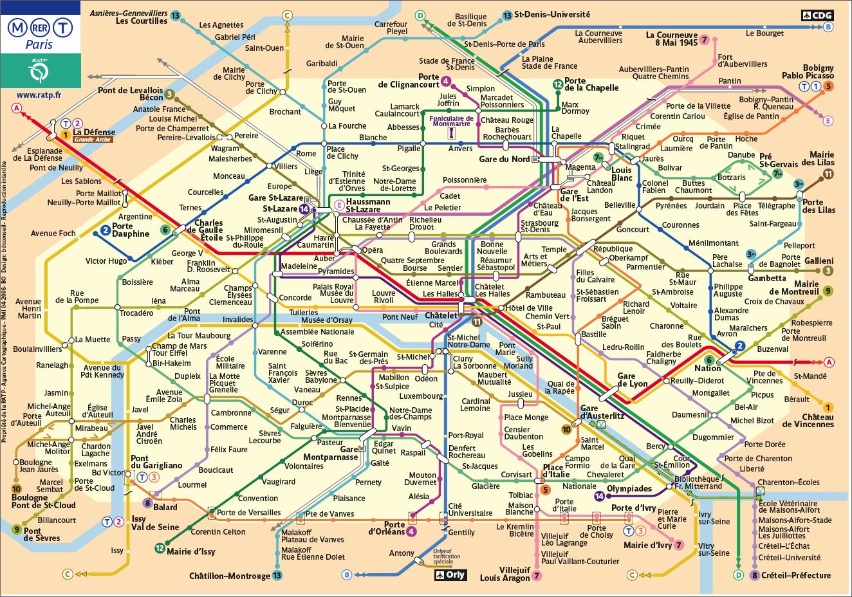 metro and rer map paris metro map
