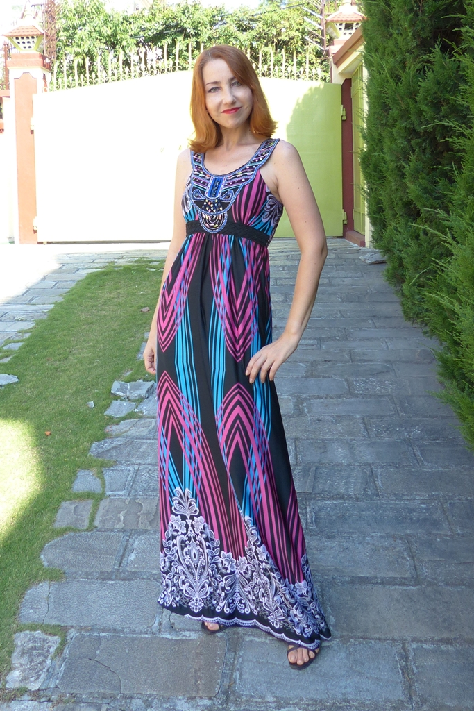 Summer maxi dress decorated with beads and embroidery