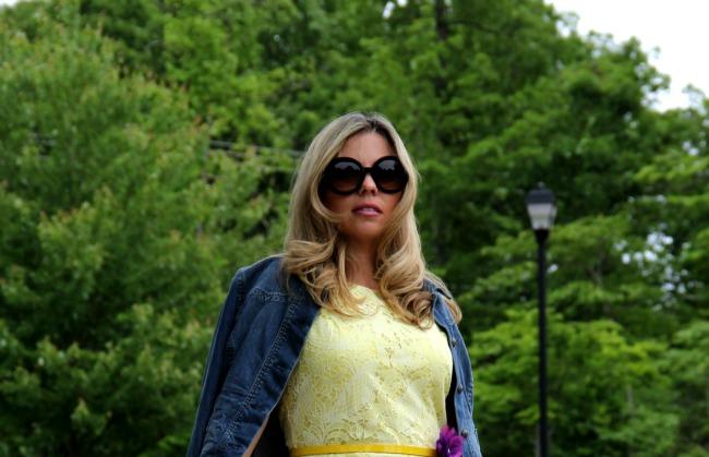 Lace Dress H& M, Jeans Jacket old, Shoes: Aldo Besarra Cream Peep-Toe Heels, Sunglasses: Prada Baroque Round, 3.1 Phillip Lim Pashli Satchel - Barney's of New York, Bracelets TJ Maxx and Flower/belt form my closet.