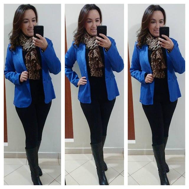 blog camila andrade, fashion blogger em ribeirão preto, blogueira de moda em ribeirão preto, ribeirão preto, look casual, calça legging preta, calça montaria, bota montaria, blazer azul bic, echarpe onça, look inverno