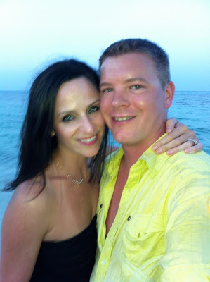 me and my sweet man right after he proposed on the beach at sunset!