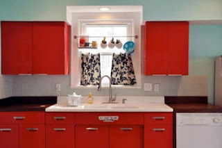 red kitchen cabinets picture