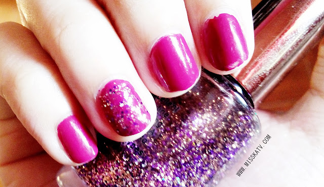 sansan hbc polish red gleam swatch color photo image pink dark glitter purple nails notd