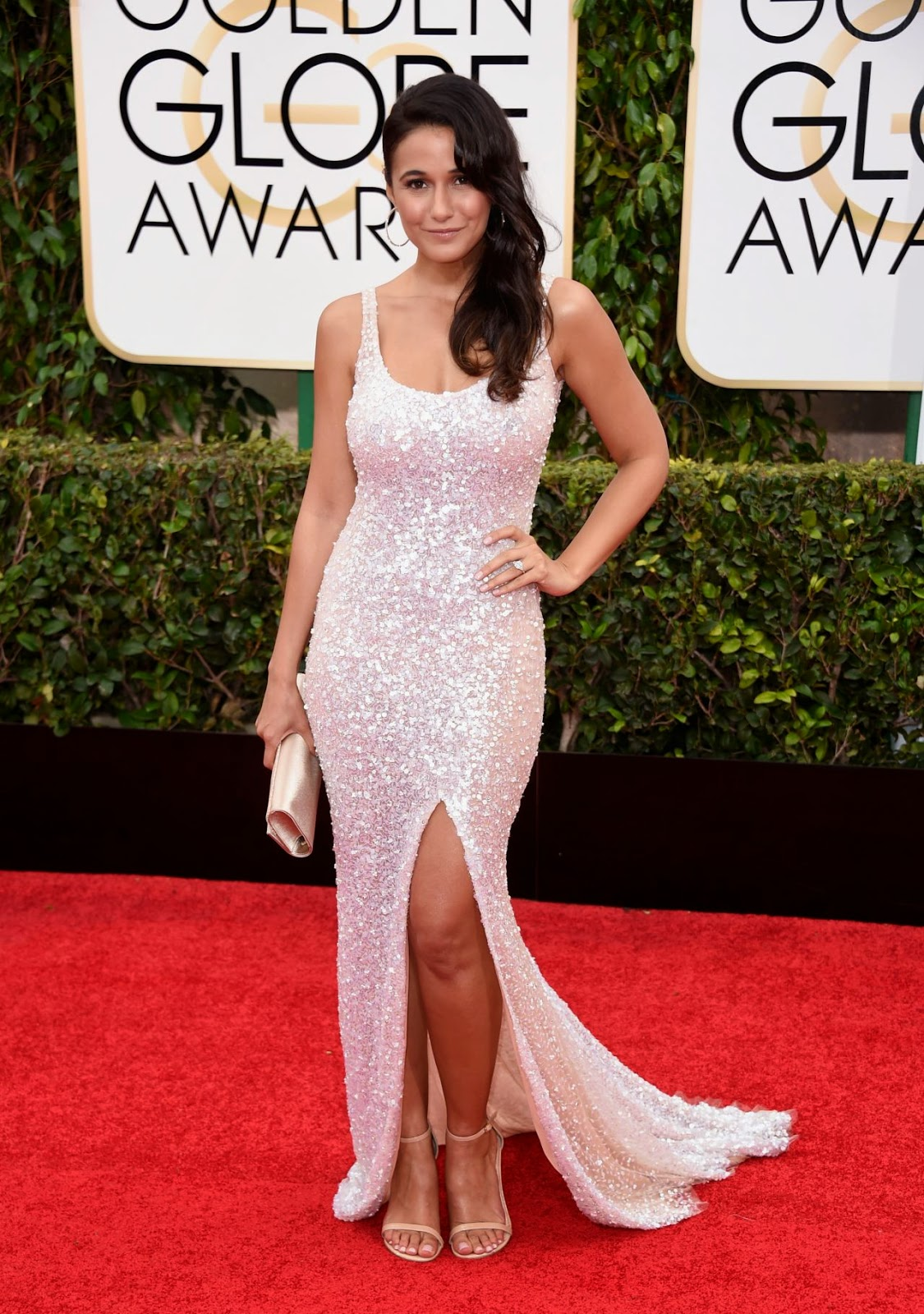 Emmanuelle Chriqui stuns in a curve-hugging sequined gown at the 2015 Golden Globes