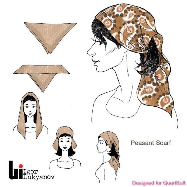 dibujo de moda, mujer con fular (foulard)