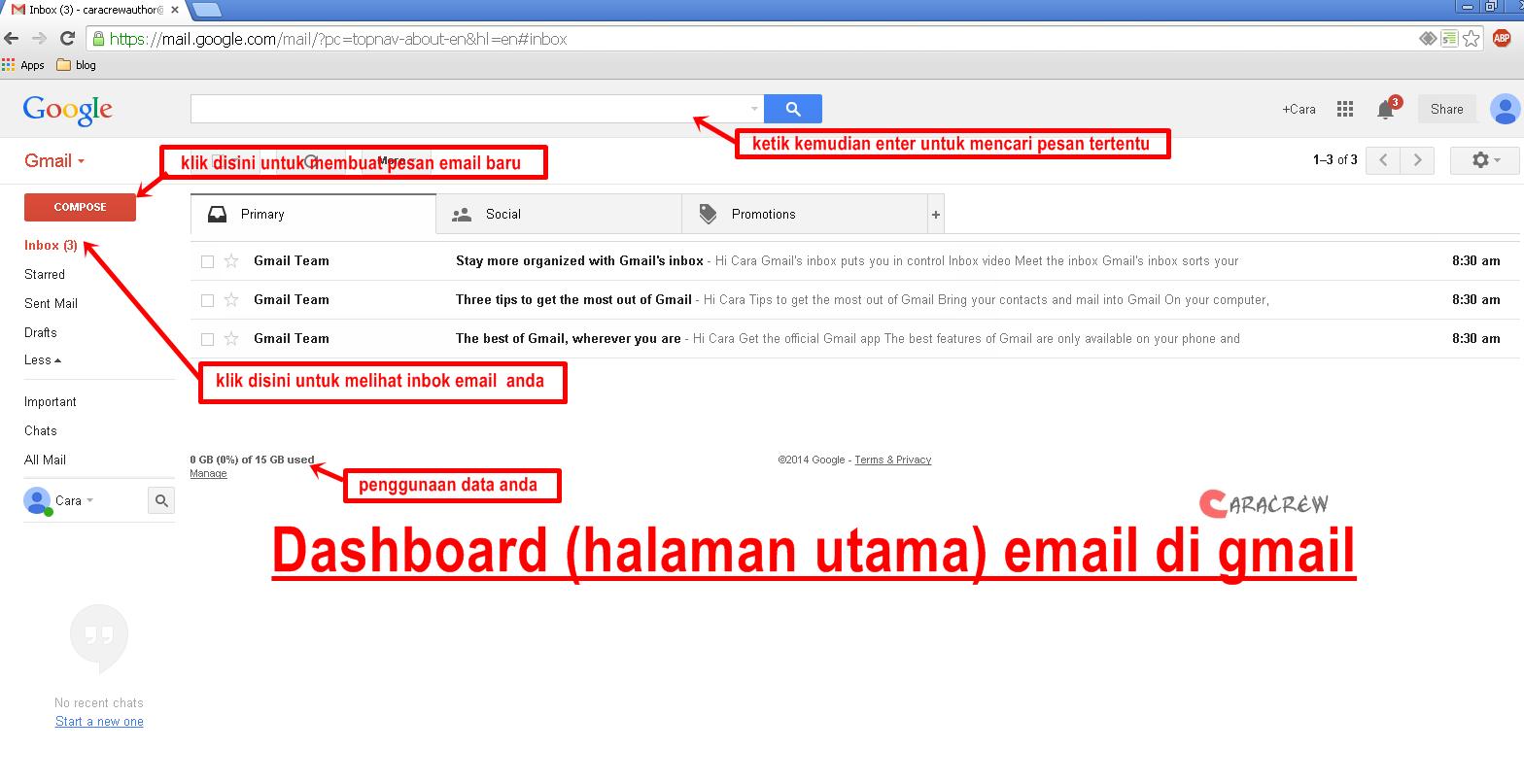 halaman utama akun gmail