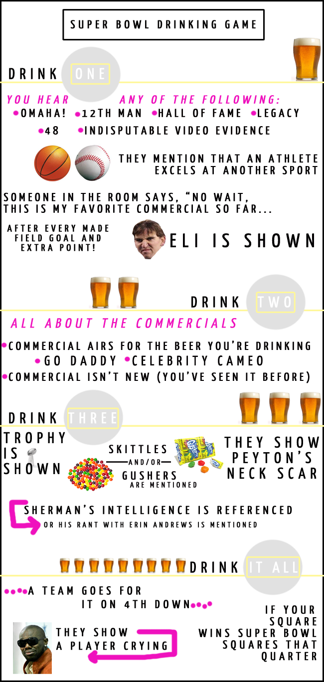 Super Bowl Drinking Game  2014 XLVIII Denver Broncos Seattle Seahawks