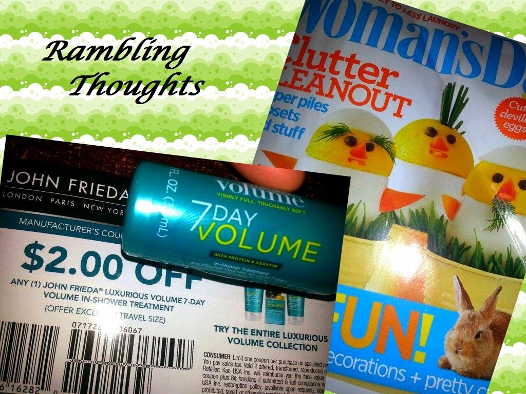 Rambling Thoughts' freebies from the mail: Woman's Day magazine and John Frieda Luxurious Volume sample