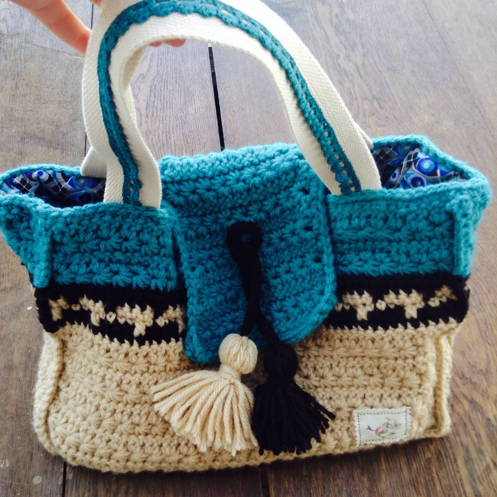 sac en crochet point étoile