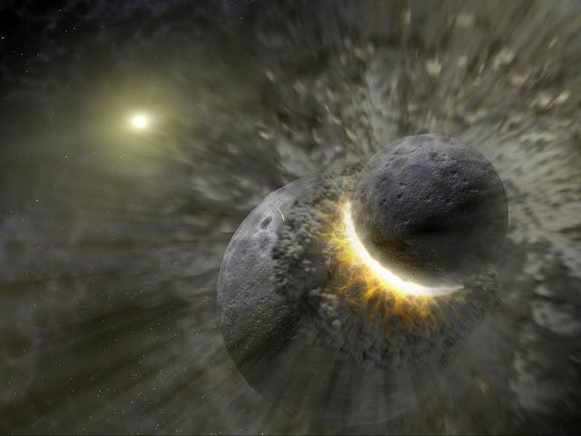 Sự hình thành của Mặt Trăng. Credit : NASA/JPL-Caltech.