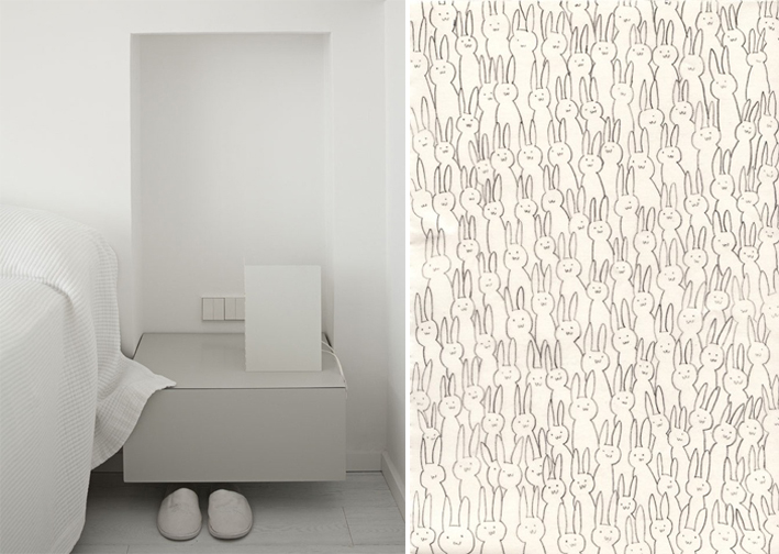 grey bedroom corner detail, bunny wallpaper