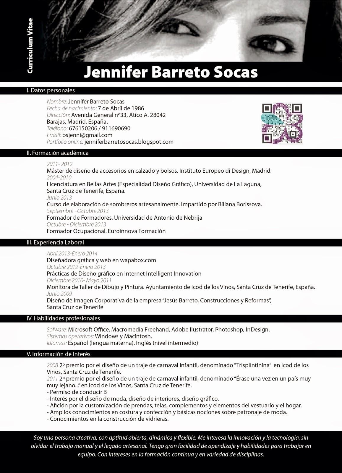 Curriculum Vitae Jennifer | Jennifer Barreto Socas