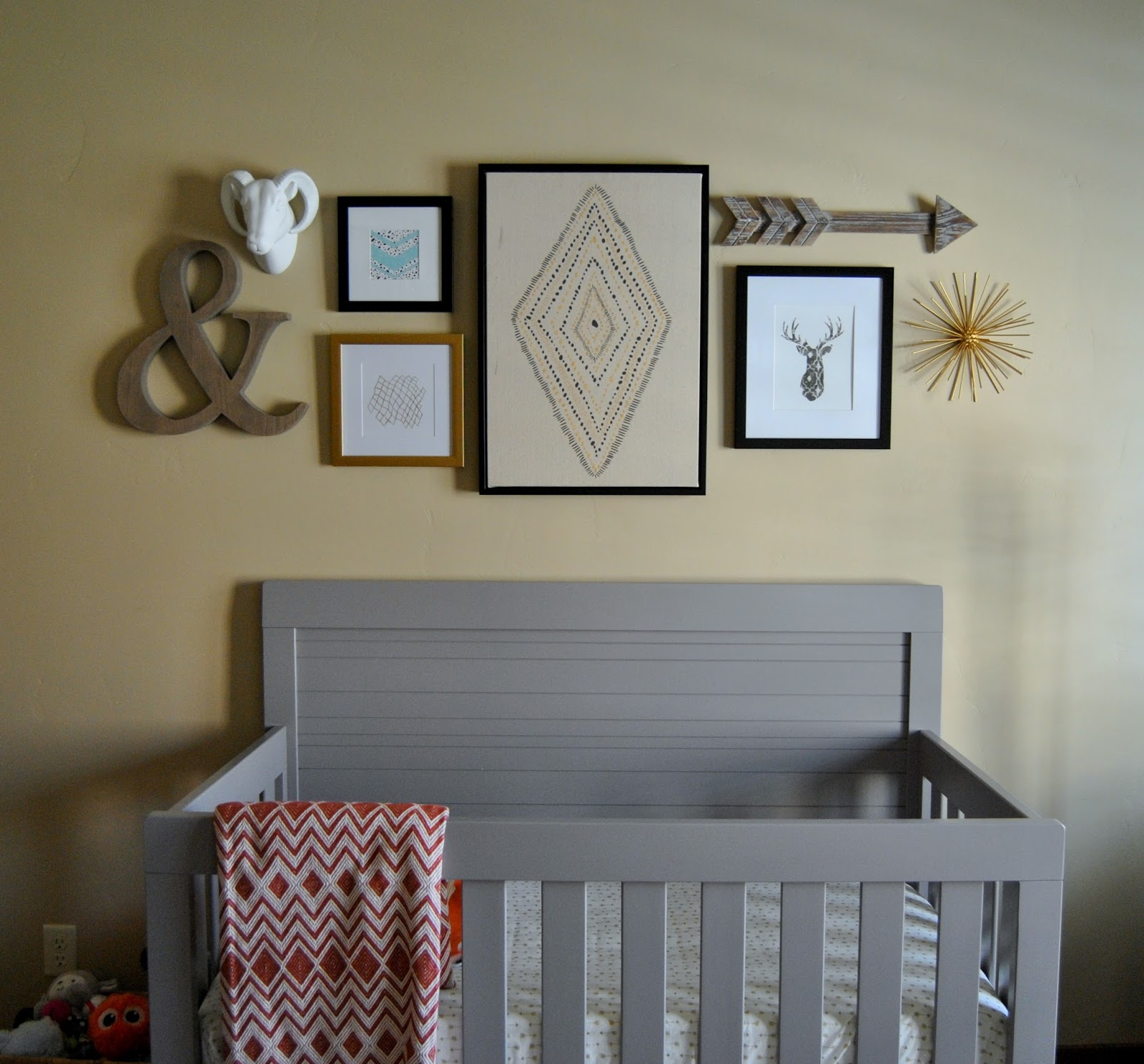 Studio 7 interior design rustic modern nursery reveal for Affordable modern nursery furniture