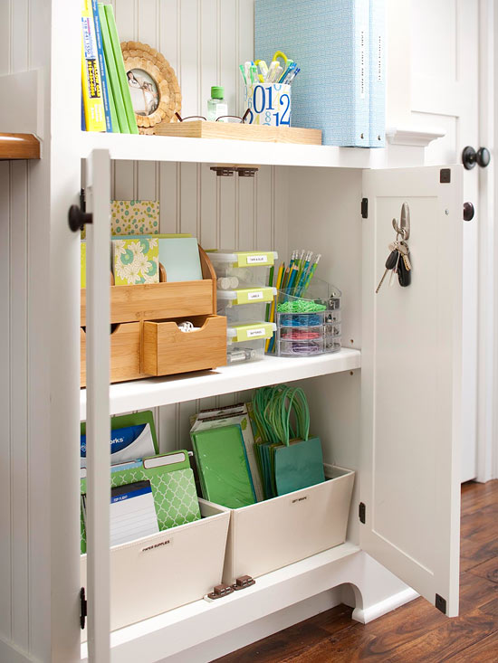A Bamboo Stationery Holder, Stacking Flip Top Bins, And An Acrylic  Organizer Stash Small Items Such As Paper Clips, Pens, And Computer Cords,  ...