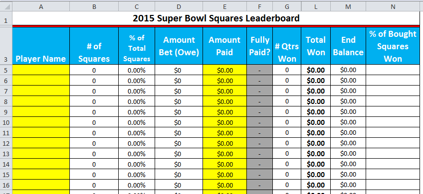 2015 super bowl squares printable excel