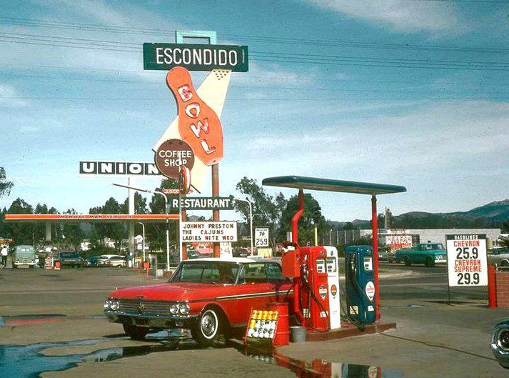Retro Gas Stations. Escondido Bowling Alley and Gas Station