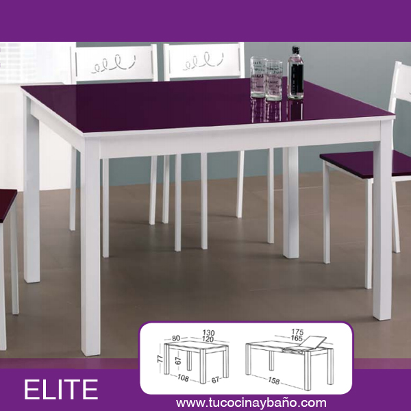 mesa cocina blanca morada extensible