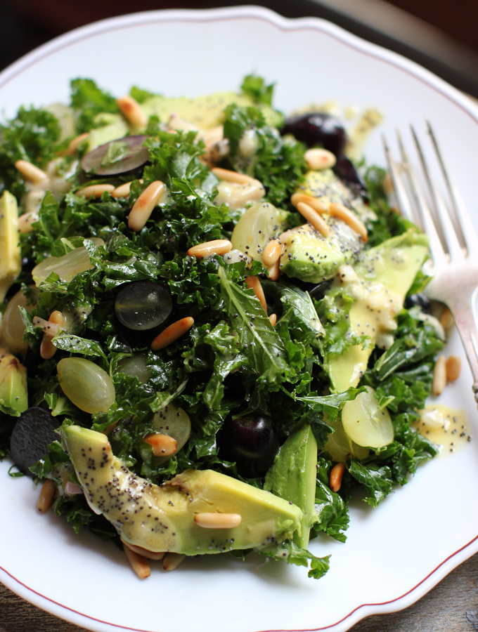 ... Massaged Kale Salad and Grapes with Poppy Seed Dressing | My New Roots