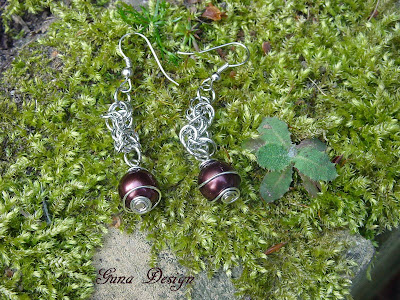 Tutorial  Earrings  in Byzantine chainmaille style with beads made by Gunadesign